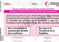 INE: Avanza diseño de papeleta de Revocación de Mandato